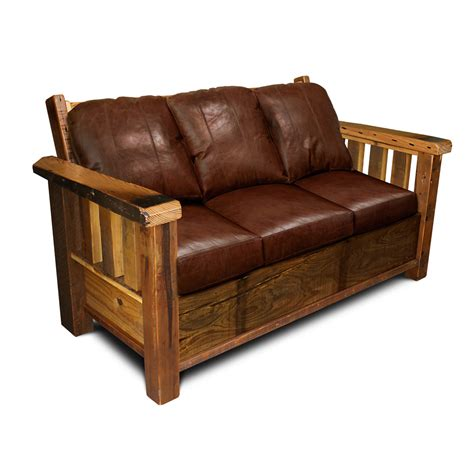 sofa wood rustic barnwood sofa