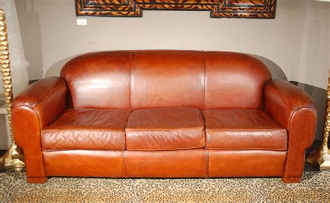 Overstuffed And Comfortable Leather Sofa At 1stdibs