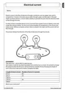 electrical current 1 natural science worksheet grade