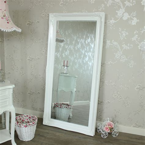 white floor mirror large ornate white gloss wall floor mirror melody maison 174