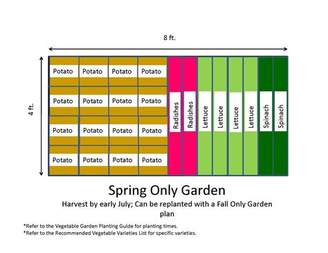4x8 Raised Bed Vegetable Garden Layout 4x8 Only Backyard Vegetable Garden Layout With Potato Radishes Lettuce And Spinach For