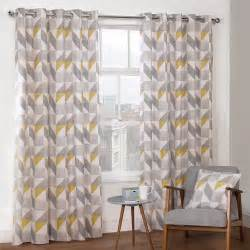 Grommet Drapes Ikea Delta Grey Amp Yellow Luxury Lined Eyelet Curtains Pair
