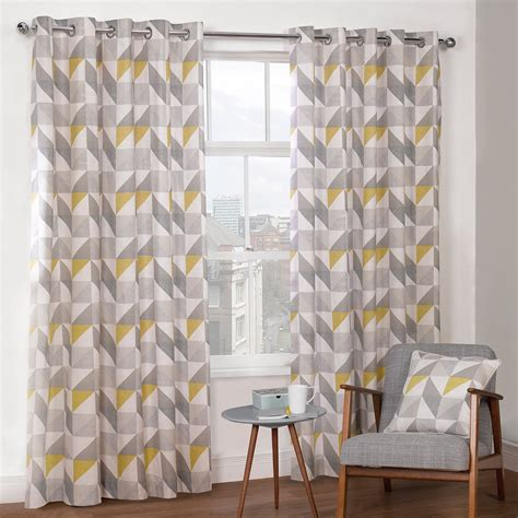 Delta grey amp yellow luxury lined eyelet curtains pair