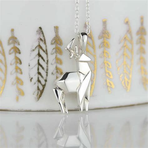 origami stag stunning silver origami stag necklace by nest