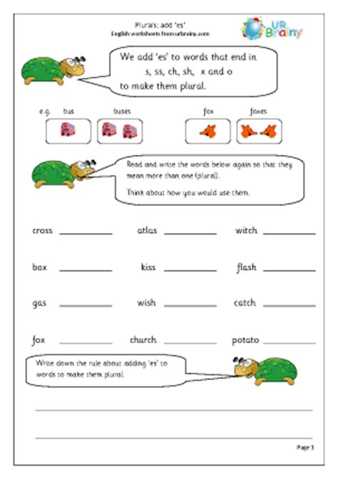 printable english worksheets for ks1 plurals add es english worksheet for key stage 1
