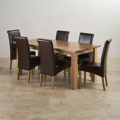 Solid Oak Dining Table And 6 Chairs Contemporary Dining Set In Oak 6ft Table 6 Chairs
