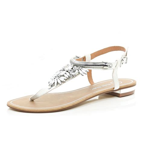 white embellished sandals river island white gem embellished t bar sandals in