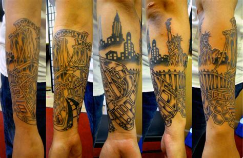 tattoo healing e45 a cityscape from several angles by adam suerte of brooklyn