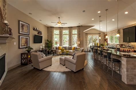 Meritage homes living room contemporary with eat in kitchen breakfast bar