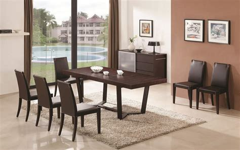 Modern Dining Sets by Extendable Wooden Top And Leather Chairs Modern Dining Set