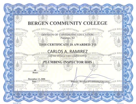 Plumbing Inspector Certification by Water Brothers Company