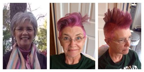 pre chemo mom dyes hair pink and gets a faux hawk to kick cancer s