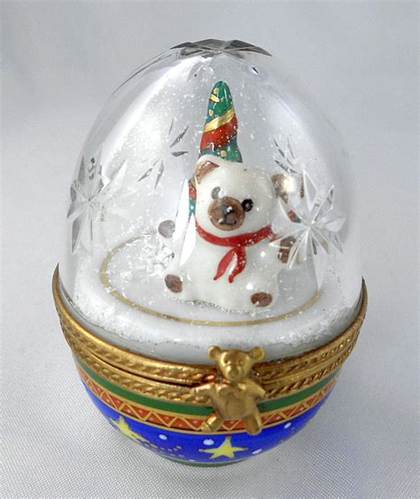 limoges box christmas snow globe crystal egg teddy bear