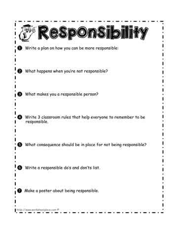 Respect And Responsibility Worksheets by Responsibility Worksheet Worksheets