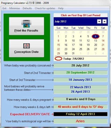 pregnancy calculator free pregnancy software to track pregnancy status