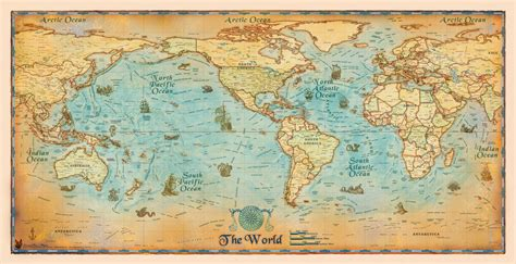 wall map antique style world wall map by compart maps