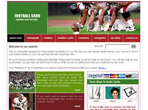card website free football card free website template free css templates