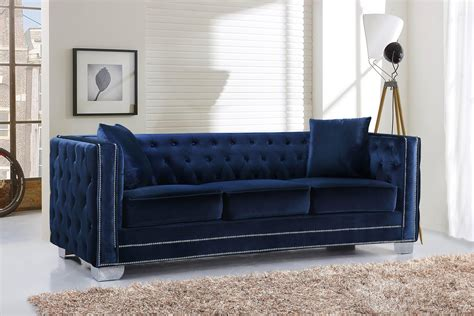 Pay Weekly Sofas No Credit Checks by Meridian Furniture 648 Reese Navy Velvet Button Tufted
