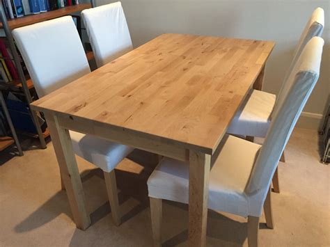 ikea dining table and chairs ikea dining table bj 246 rkudden and four harry chairs birch