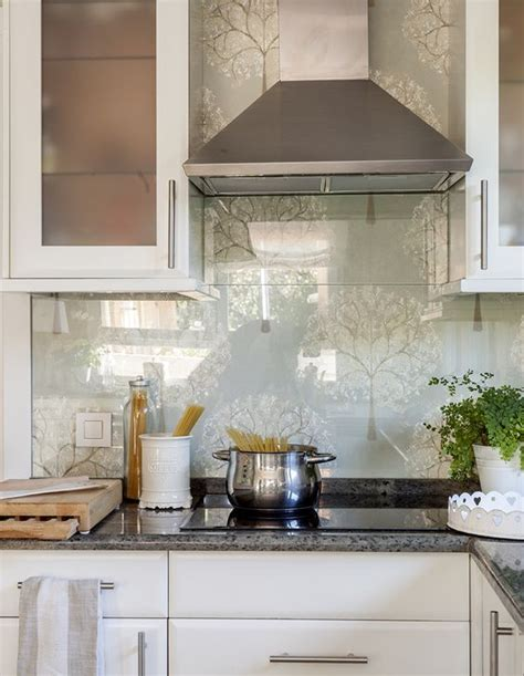 wallpaper for kitchen backsplash 25 wallpaper kitchen backsplashes with pros and cons digsdigs