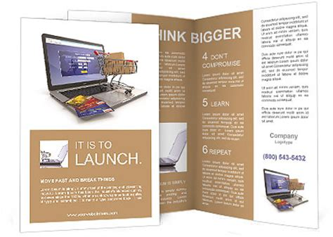brochure templates laptop e commerce shopping cart and credit cards on laptop 3d