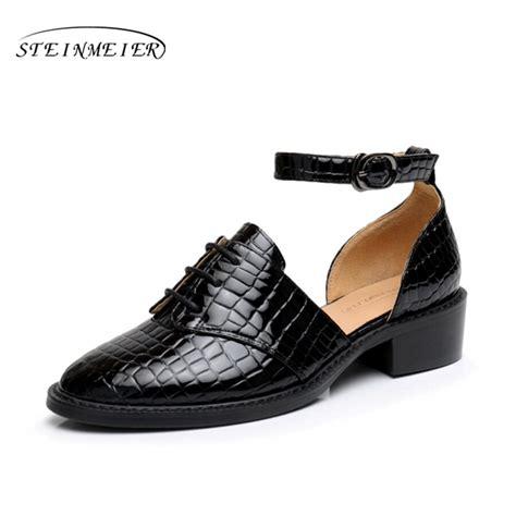 cow leather high heeled sandals shoes us size 8 handmade black 2017 summer vintage