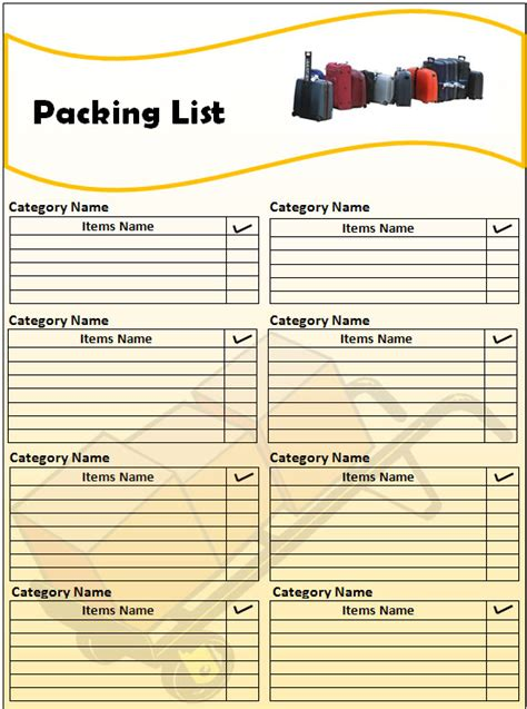 pack template packing list template