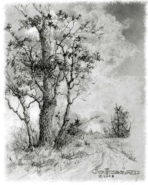 Road With Trees Drawing