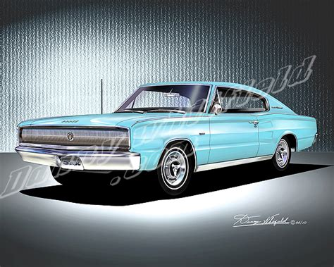 light blue dodge charger 1966 1967 dodge charger car art print poster by danny