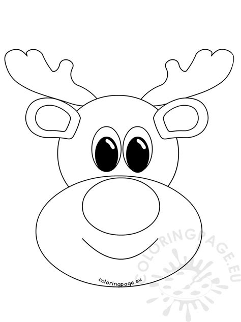 template of reindeer face rudolph reindeer face craft coloring page