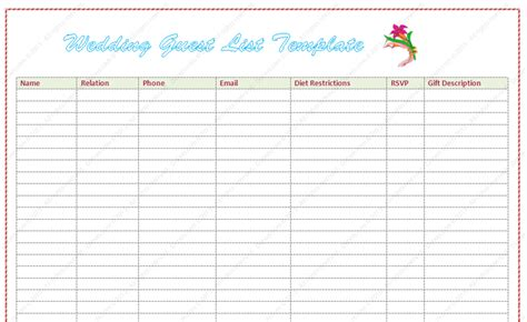 Wedding Guest List Template Word Dotxes Printable Wedding Guest List Template