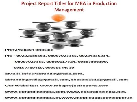 Mba In Production by Project Report Titles For Mba In Production Management