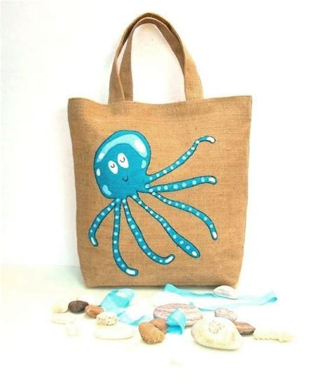 Handmade Jute Bags - dreaming blue octopus handmade summer jute tote bag