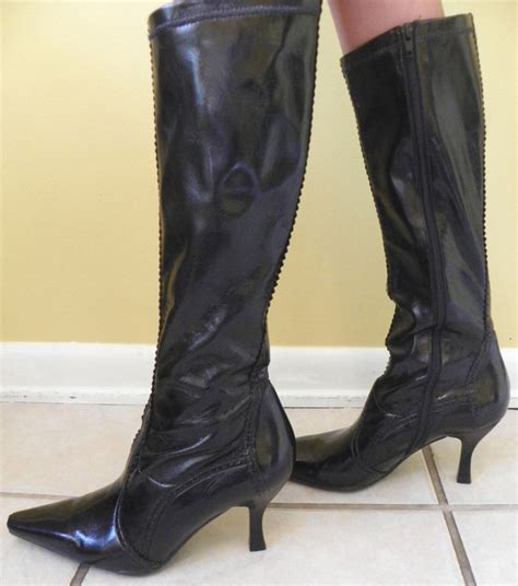 witchy franco sarto patent black knee boots