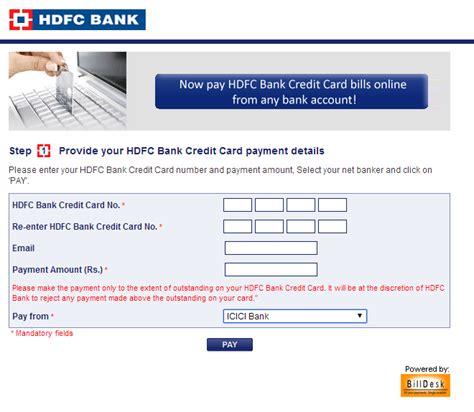Hdfc Bank Help Desk by Hdfc Credit Card Bill Payment Bill Payment Www