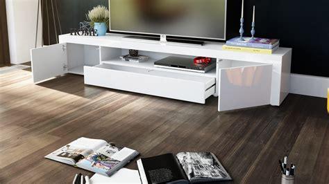 Meuble tv moderne laqué blanc 200 cm avec led pour Meubles