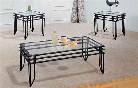 7 Pc Dining Room Set black metal w clear glass design 3pc coffee table set