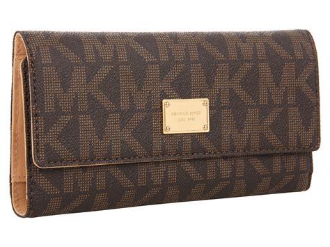 wallet brown lyst michael michael kors jet set checkbook wallet in brown