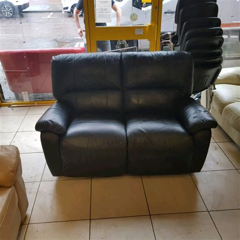 2 seater leather recliner used 2 seater sofa in black leather all reclining whelans