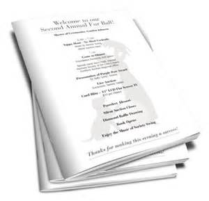 auction program template booklet printing helps non profit animal shelter charity