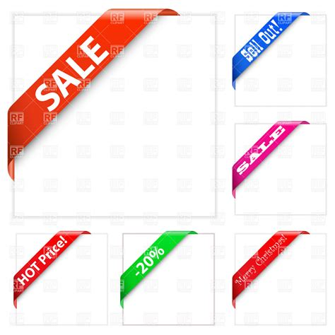 collection of sale corner ribbons vector image 5910