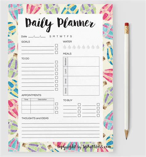 Daily Calendar Printable Template Daily Planner Sgartclass