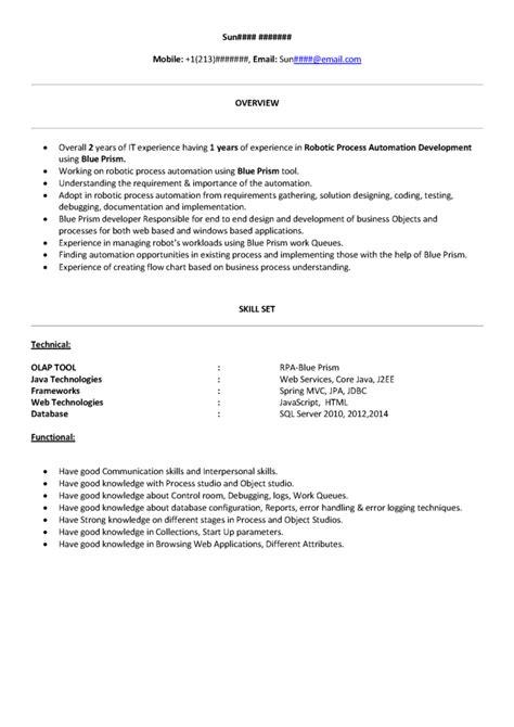 rpa blueprism sample resume   product