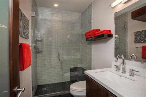 red accent bathroom photo page hgtv