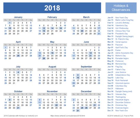 Calendar With Holidays For 2018 Printable Calendar 25 Free Professional Calendar