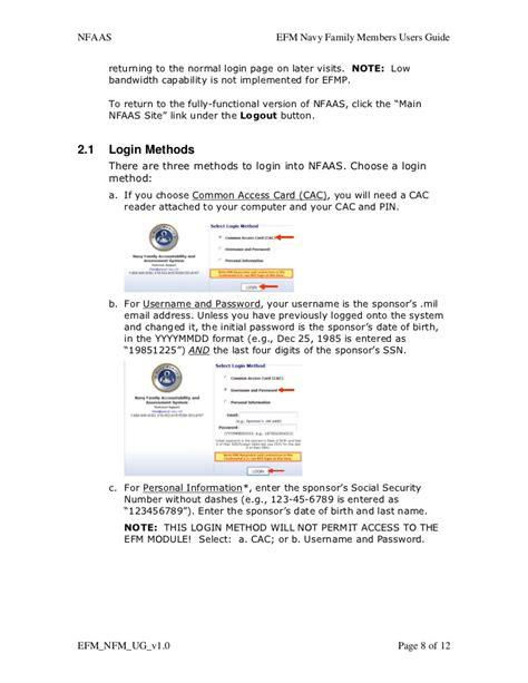 nfaas log on efm nfm user guide