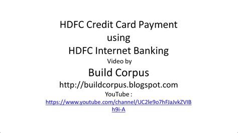 make payment for hdfc credit card hdfc credit card payment using hdfc banking