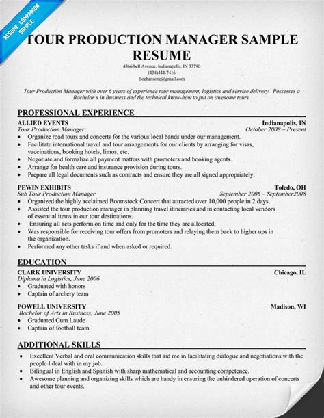 Example Resume: Sample Resume Production Supervisor