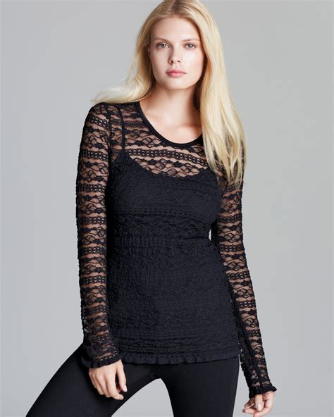 Sleeve Top Combi Plaid Lace lyst sleeve lace top in black