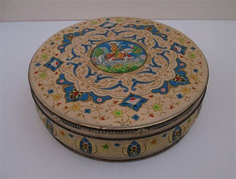 w r jacob co biscuit or cookie tin horseman 1940s 50s